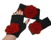 Red Rose Fingerless Gloves and Headband Set