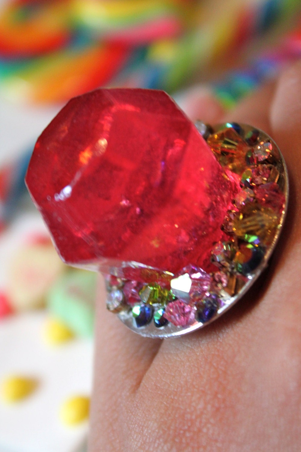 rock candy ring pop watermelon ring pop resin ring