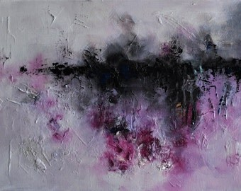 "Original Abstract Painting Modern Textured Art Pink Purple Lake reflections 12""x16"""