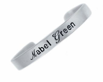 Personalized Sterling Silver Baby Cuff Bracelet Custom New Mom Jewelry Hand Stamped Names Birth Dates Engraved Artisan Handmade Fine