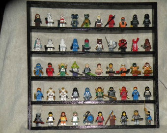 Handcrafted Solid Pine Painted Gloss Black Legos Minifigure  50 Figure Display Shelf w/ Grey 2x2 Plates