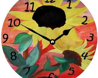 Giant Sunflowers wall clock