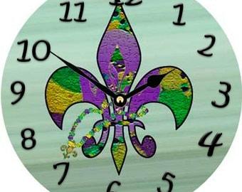 Carnival Fleur de lis  Wall Clock
