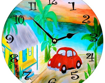 Red VW Bug beach house wall clock from my art