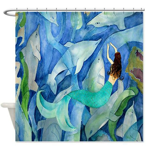Dolphins and Mermaid Party Art Shower Curtain