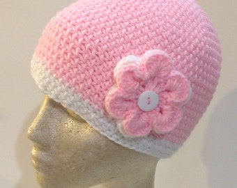 Pretty Pink and White flowered Beanie