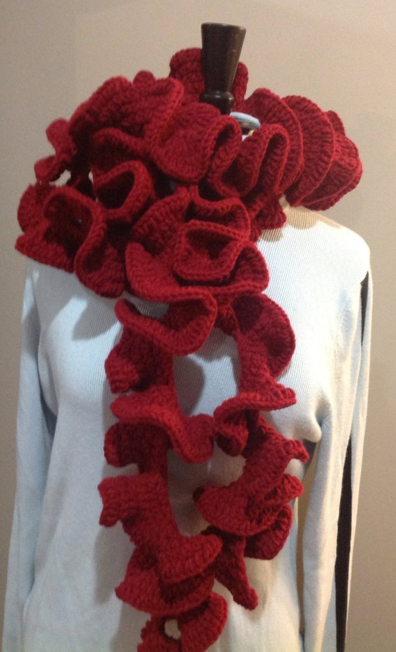 Free Crochet Pattern For Potato Chip Scarf : Cranberry Red Ruffle Potato Chip Scarf