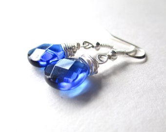 Sapphire blue briolette earrings, silver wire wrapped blue faceted crystal drop earrings