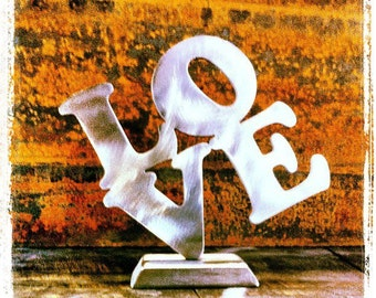 Modern Abstract Stainless Steel Metal Sculpture LOVE by Andre'