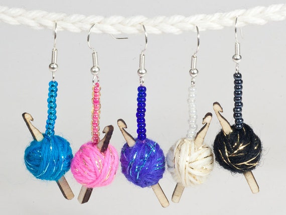 Sparkly Crochet Hook Earrings - 5 colours of yarn to choose from