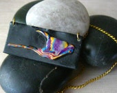 Bird of Paradise Necklace, Polymer Clay Pendant, Gold Necklace, Clay Pendant, 14kt Gold Plate, Polymer Clay, Bird of Paradise, Made in US