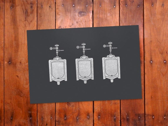 Bathroom decor urinal bathroom wall art by humanshapedrobot for Bathroom accessories for men