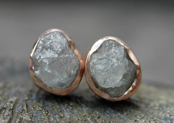 Rough Diamond and 14k Recycled Gold Bezel Post Earrings- Rose, White, or Yellow Gold Custom Made Stud Earrings