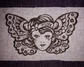 Butterfly Girl Patch, Woodcut