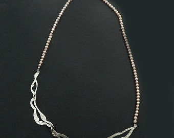 OOAK Hand pierced Sterling Silver Necklace, with real Peach Fresh Water Pearl Chain. Textured, rolled, hand pierced