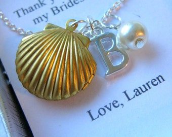 Ask Bridesmaid, seashell locket, initial, ocean inspired, bridal party gift. FREE personalized notecard and jewelry box.