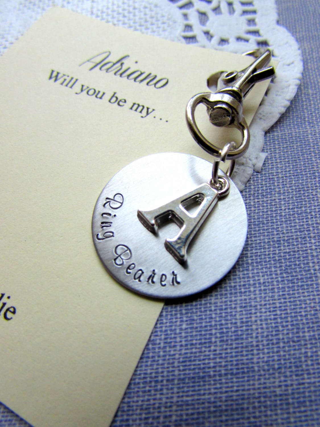 Wedding Gifts For Ring Bearer : Ring bearer ask gift wedding party. Keychain key charm