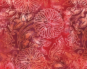 RED FLORAL DAHLIAS Batik Fabric by Bavarian Batiks - quilting clothing construction sewing - batik fabric
