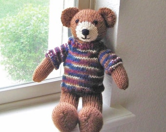 "Hand Knit Teddy Bear, Knit Toy, Stuffed Animal Bear, Ready To Ship, Plush Bear Woodland Nursery Handmade Stuffed Toy Baby Boy Gift 12 1/2"""