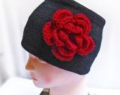 Knitted Black Headband Ear Warmer with Dark Red Crochet Flower