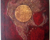 Handmade Journal Refillable Red Black Copper Moon 12x9 Original