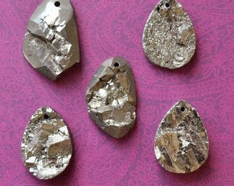 SALE - 65% OFF - Golden Iron Pyrite Natural Rough Druzy Pendant (one bead) 35-60mm