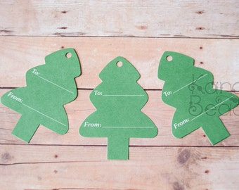 Paper Gift Tags, Christmas Gift Tags, Christmas Tree Gift Tags, To From, Green Tags,