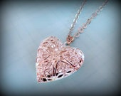 Simple Filigree Heart Locket Necklace (Silver Tone Locket Pendant)