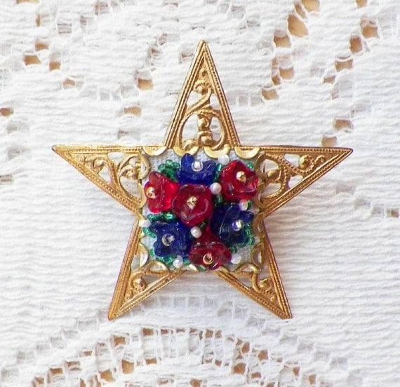 Bright Star Spangled Sparkle Brooch / Pin with Filigree Star and Cobalt Blue and Red Glass Bead Flowers on White, Handmade