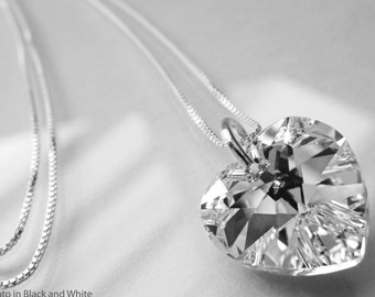 Swarovski Heart Necklace - Solid Sterling Silver - 18 inch chain - Everyday of Forever -