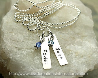 Personalized Mommy Hand Stamped Sterling Bar / Tab Silver Necklace with 2 Names