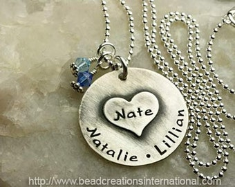 NEW DESIGN - Large Heart on Solid Disc with Three Names or Two Names and One Date Hand Stamped Necklace