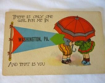 Vintage Early 1900s Postcard, Cartoon, Romance, Washington PA Souvenir, Unused
