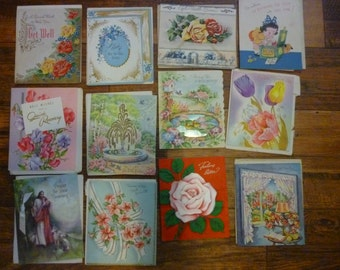 Lot of 12 Used Get Well Greeting Cards 1948, 1954, & 1961
