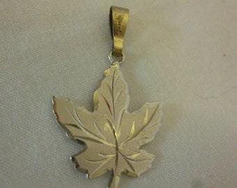 Vintage Sterling Silver Maple Leaf Pendant, Charm