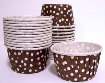 25 Brown Polka Dots Candy Cups