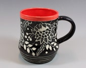 Handmade Pottery Mug, Coffee Mug, Sgrafitto Mug with Red Interior SKU143-1