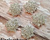 Petite Rhinestones, Mini SNoWFLaKE Rhinestone Buttons Flatback 15mm- Silver Metal Base 5 pcs