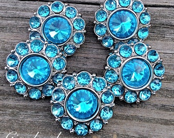 Brand New Set of FIVE Acrylic Rhinestone Buttons NEW Size-18MM TuRQUoiSe