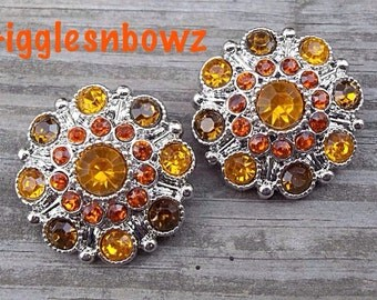 2pc Rhinestone Buttons- Fall Halloween Thanksgiving Acrylic Rhinestone Buttons 27mm- Flower Centers- DIY Supplies