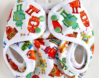 PUL Diaper Cover - Eco Friendly Baby & Toddler Boy One Size - Retro Robot Cloth Diaper Cover  - Baby Shower Gift