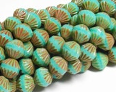 YEAR END CLEARANCE - Czech Fire-polished Glass Fluted Bicone - 8mm - Opaque Turquoise Picasso - 12 Beads