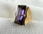 Circa 1940 20.50 Carat Synthetic Color Change Sapphire RIng set in 18KT Rose Gold.
