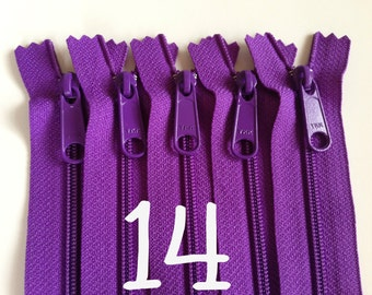 14 inch YKK zippers with long pull, five pcs, purple handbag zips, 4.5 mm coil, YKK color 303, great for handbags, gadget cases