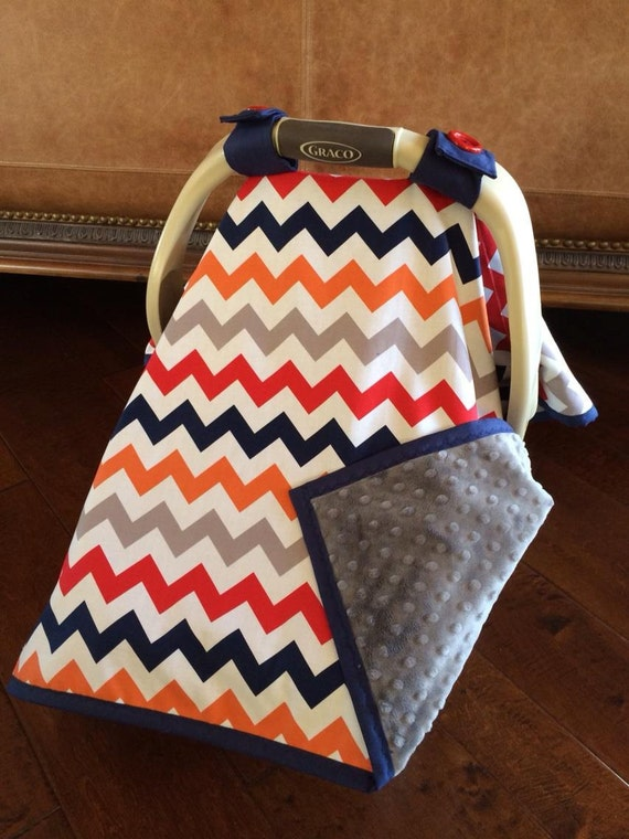 items similar to super cute baby car seat covers chevron in multi color with gray minky so. Black Bedroom Furniture Sets. Home Design Ideas