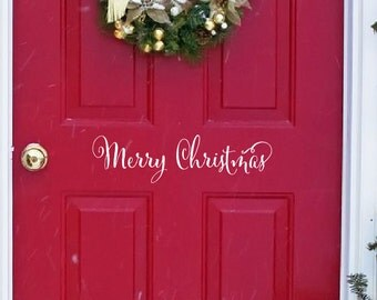 Merry Christmas Door Decal - Vinyl Decal - Front Door Holiday Decor