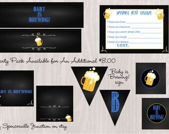 Digital Blue Chalkboard Style Party Pack for Diapers and Beer Baby Shower Invitation DIY Printable INSTANT DOWNLOAD