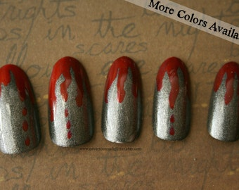 The Original Texas Chainsaw Manicure | Bloody Stiletto Fake Nails |  Halloween Goth Zombie Reusable Press On Nails | Halloween Costume Nails
