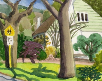 School zone - Original watercolor