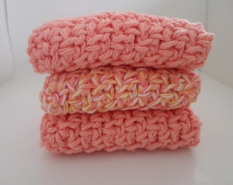 Set of 3 Coral dish cloths